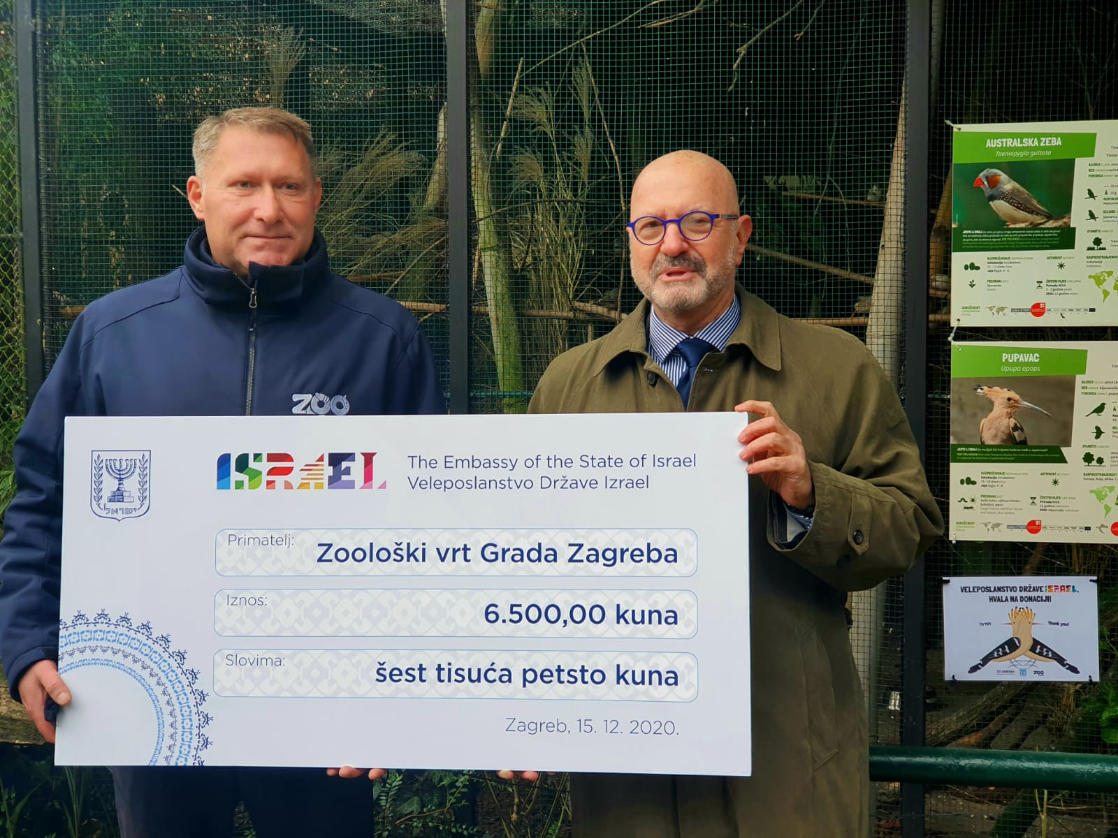 Veleposlanstvo Države Izrael dalo donaciju za  pticu pupavca